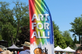 "A colourful flag that reads ""Art for All"""
