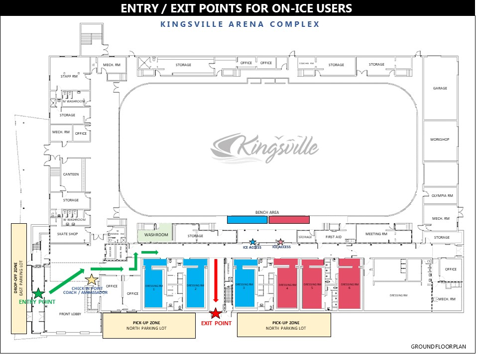 Map showing arena dressing rooms and entry and exit points