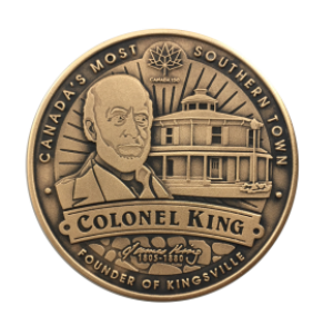 Coin depicting Colonel James King in front of his home