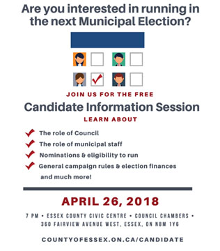 Are you considering running in the 2018 Municipal Election? Join us for a free Candidate Information Session on April 26!